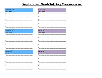 Parent Conference Meeting Template