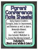 Parent Conference Note Sheet