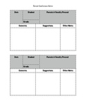Parent Conference Notes Page