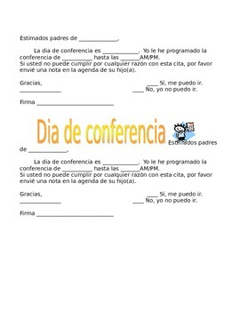 Parent Conference Notification in English & Spanish