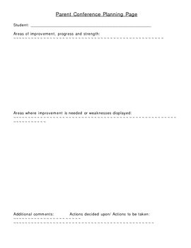 Parent Conference Planning Work Sheet