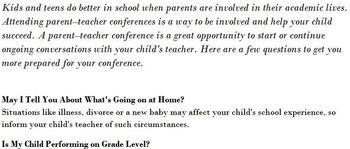Parent Conference Questions