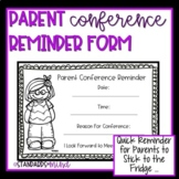 Parent Conference Reminder Form