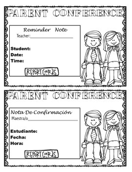 Parent Conference Reminder Note