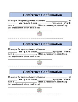 Parent Conference Request and Confirmation Letter