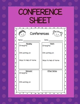 Parent Conference Sheet