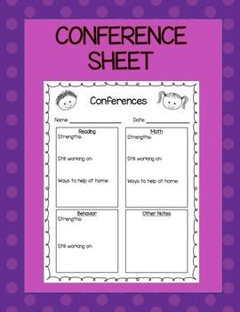 Parent Conference Sheet