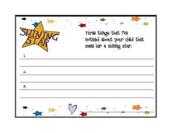 Parent Conference- Shining Star Certificate