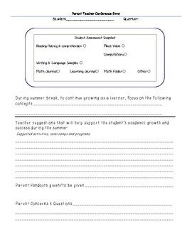 Parent Conference Exit form