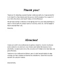 Parent Conference thank you note