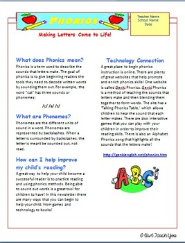 Parent Connections: Newsletter on Phonics