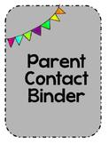 Parent Contact Binder Cover