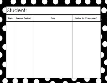 Parent Contact Binder Cover & Contact Forms