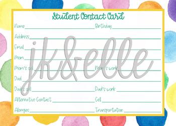 Parent Contact Card