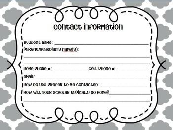 Parent Contact Cards