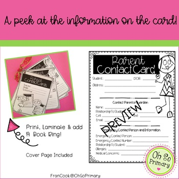 Parent Contact Cards, Essential Parent Information