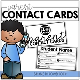 Parent Contact Cards | EDITABLE