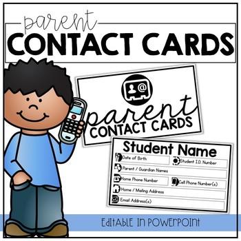 Parent Contact Cards | EDITABLE