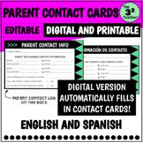 Parent Contact Cards with Parent Contact Log (English and