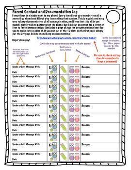 Parent Contact & Documentation Log