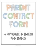 Parent Contact Form (English & Spanish version)