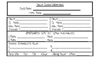 Parent Contact Form - Index Card Size
