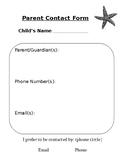 Parent Contact Form Starfish Beach Theme