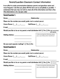 Parent Contact Form for Back to School