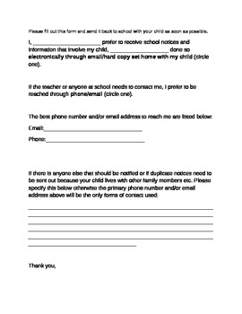Parent Contact Form-phone/email