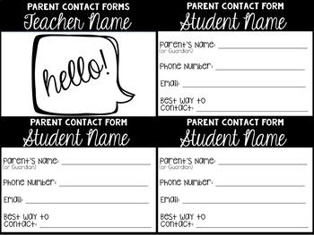 Parent Contact Forms (Editable)
