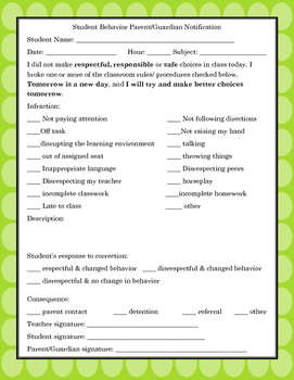 Parent Contact Forms and Documentation