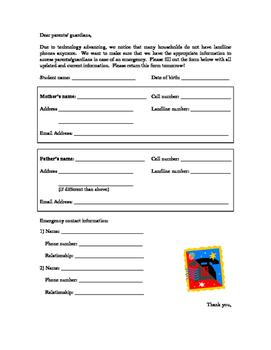 Parent Contact Information