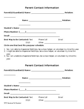 Parent Contact Information Cards