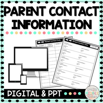 Parent Contact Information Editable Sheets