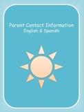 Parent Contact Information English & Spanish