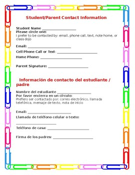 Parent Contact Information English and Spanish