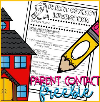 Parent Contact Information Form FREEBIE