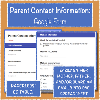 Parent Contact Information: Google Form