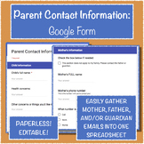 Parent Contact Information: Google Form