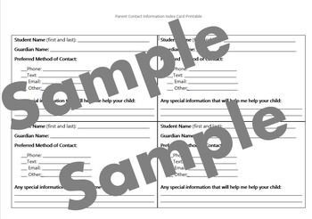 Parent Contact Information Index Cards