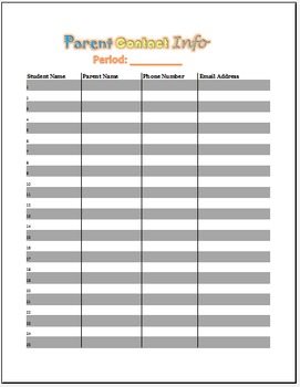 Parent Contact Information Record