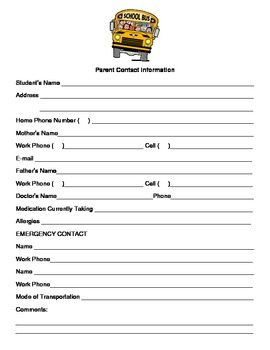 Parent Contact Information Sheet {English & Spanish version}
