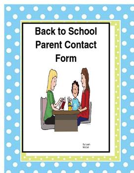 Parent Contact Information Sheet
