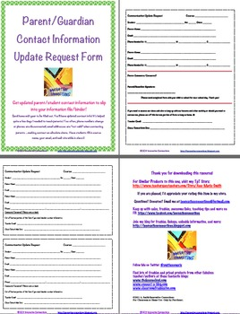 Parent Contact Information Update Request Form to Send Home by Ann ...