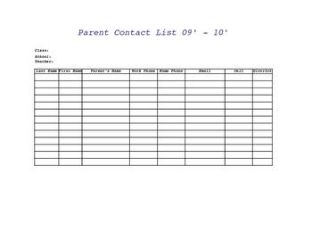 Parent Contact List