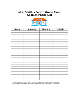 Parent Contact List