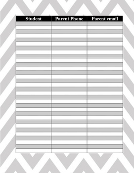 Parent Contact List Worksheets Teaching Resources Tpt