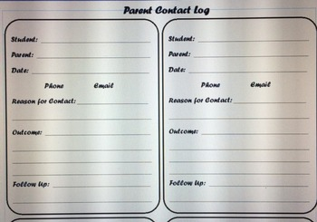 Parent Communication Contact Log