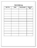 Parent Contact Log For Counselors- Editable