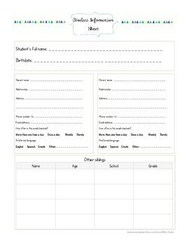 Parent Contact Log AND Student Information Sheet Bundle